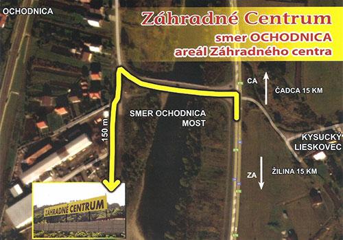 Záhradné Centrum - mapka